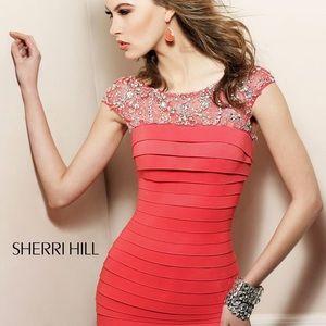 Sherri Hill Coral Pink Bandage Miki Dress
